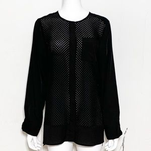 Calvin Klein Button Down Sheer Perforated Top